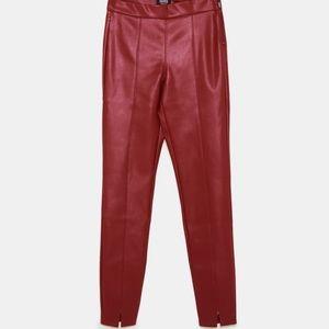 Red fake leather effect Zara leggings